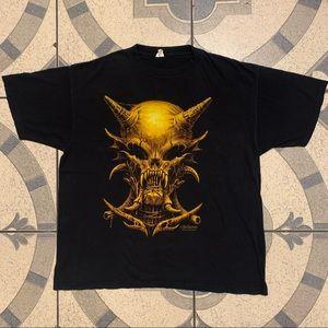 VTG Y2K Wes Benscoter Skull Graphic Tee Sz XL